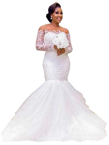 Plus Size Mermaid Trumpet Off The Shoulder Long Sleeves Bridal Ball Gown Wedding Dresses for Women Bride with Train Ivory