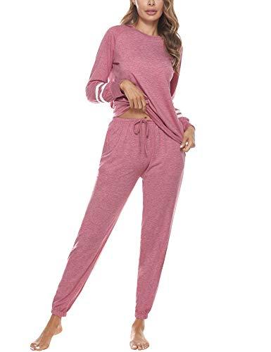 Akalnny Conjunto de Pijamas Mujer Algodón con Mangas Largas Pantalón y Camiseta Suave Cómodo Chandal Ropa de Casa Dormir Transpirable