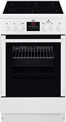 AEG CCB56400BW freistehender Elektroherd / 58 l / Weiß und Schwarz/ 50 cm Backofen mit Glaskeramik-Kochfeld / Bräter-und Zweikreiszone / SteamBake mit Feuchtigkeitszugabe / 4fache Restwärmeanzeige