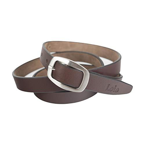 Lois - cinturón Mujer piel Cuero genuina. hebilla metálica. logo troquelado. flexible clásico y duradero. 20 mm de ancho 49609, Color Marron