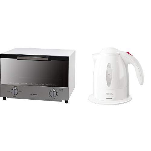 【セット買い】アイリスオーヤマ ミラーオーブントースター トースト4枚 MOT-013-W & アイリスオーヤマ 電気ケトル ホワイト IKE-1001-W セット