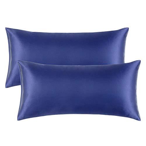 Bedsure Funda Almohada 40x80cm Satén Azul Marino - Juego de 2 Fundas Almohadas 80x40 Pelo Rizado, Muy Liso Suave de 100% Microfibra, Antiarrugas sin Cremallera, 2 Piezas