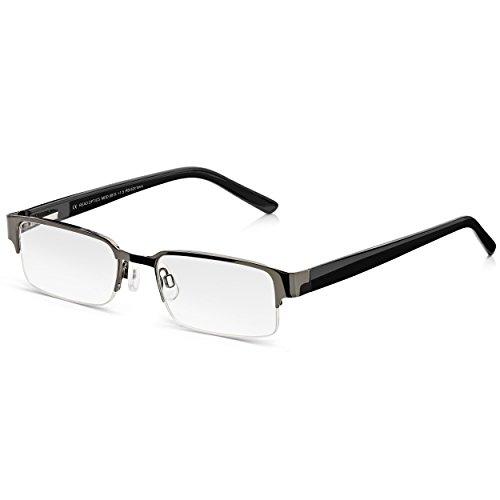 Read Optics Lesebrille für Herren: Moderne Halbrandbrille in klassischem Schwarz. Mit Federscharnieren und weichen Nasenpads für besten Tragekomfort. Hochwertige Gläser mit Blendschutz in Stärke +1,25