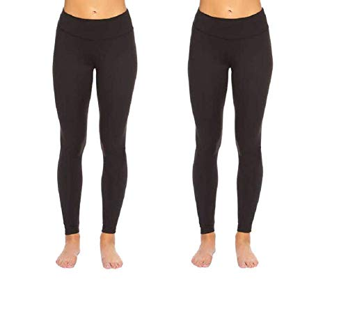 Felina Leggings Wide Waistband Suede Light Weight Super Soft Mid Rise Silhouette 2 Pack (2 Pack - Black, Medium)