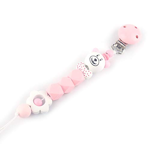 Eliky Baby fopspeenketting clip pasgeborenen belangrijke leveringen kleine kinderen bijtring anti-val-ketting badgeschenk nieuw roze