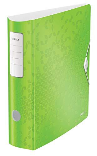 Leitz Qualitäts-Ordner 180°, Abgerundeter Rücken mit 82 mm Breite, Gummibandverschluss, Leichtes Polyfoam, WOW, Grün, 11060054