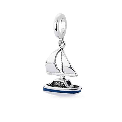 FeatherWish Charm-Anhänger Segelboot, 925 Sterlingsilber, blaue Emaille und klare Zirkonia, passend für Pandora-Armband