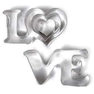 perlesmania.com Lot de 3 Mini Emporte-pièces métal Love DTM 265064 (1 Love et 2 Coeurs)