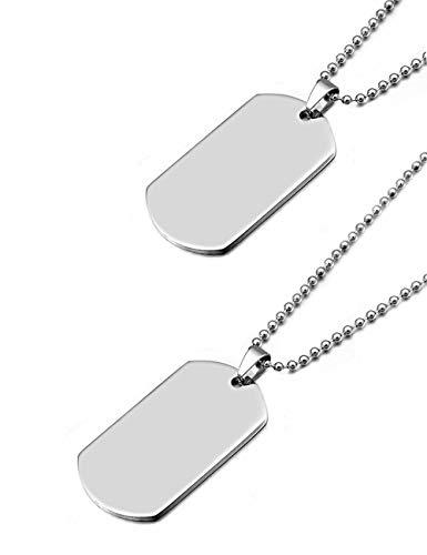2 colgantes del ejército,etiqueta de acero inoxidable de alto pulido para hombres y mujeres,collar con etiqueta de perro estilo ejército,con cadena de bolas de 69 cm de longitud (plata 27,1 ')