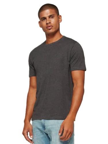 GAP Men's Crew Neck Cotton T Shirt Everyday Quotidien Solid Color (Charcoal, Large)