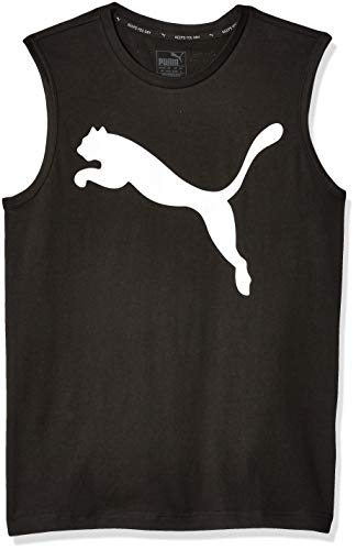 PUMA Men's Essential NO.1 Sleeveless TEE, Cotton Black-Pure White, M