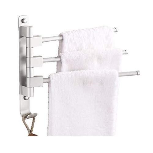 MOCOFO Towel Rack, Swing Out Towel Bar Swivel Bath RV Towel Holder Swing Arm Towel Hand Rack (Space Aluminum, 3 Bars)