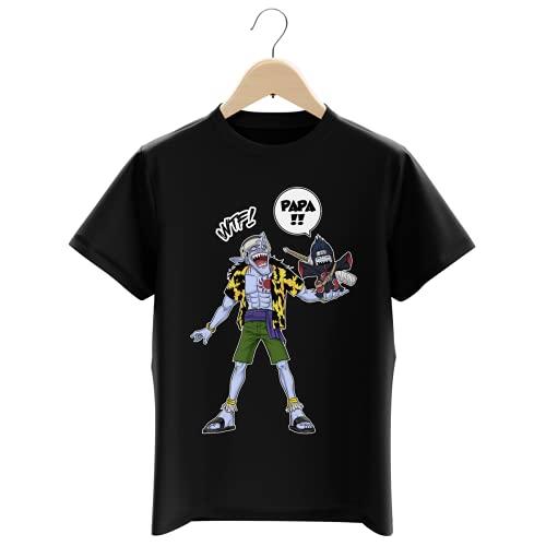 T-Shirt Enfant Garçon Noir Parodie Naruto - One Piece - Arlong et Kisame - Papa. WTF !! (T-Shirt Enfant de qualité Premium de Taille 9-10 Ans - imprimé en France)