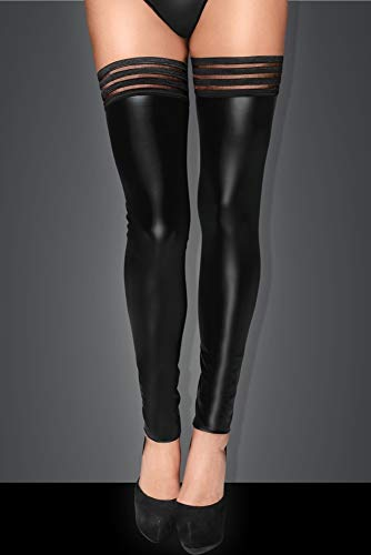Schwarz Stockings im Wetlook Wet Look F158Größe L