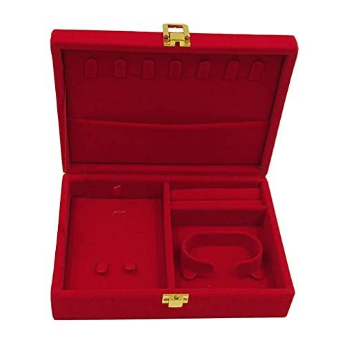 W-HUAJIA Caja de Caja de Terciopelo Rojo Suave con Tapa de Anillo Brazalete Soporte de Almacenamiento Organizador Pendiente Collar Caja de Reloj (Color: D) (Color : D)