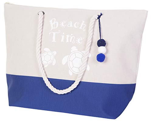 Bolsa de Playa Impermeable para Mujer con Cierre de Cremallera Superior, Asas de Cuerda