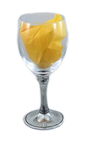 CAVAGNINI Copa de vino de agua personalizada de cristal y peltre (copa grande 33 cl)