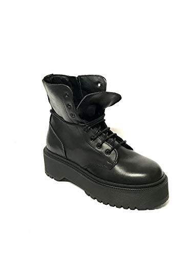 ZETA SHOES schoenenkast, veters, van echt leer, zwart Made in Italy
