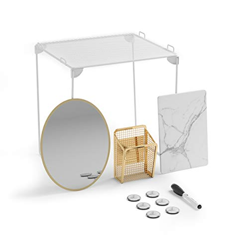 U Brands Locker Organizer and Decorating Kit Back to School Essentials Gold 11-Piece Includes Marble-Print Accessories Mirror Shelf and More