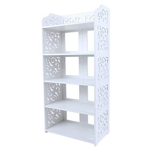 Leku Scarpiera 5 ripiani, Scarpiera in PVC intagliato per corridoio, cucina, bagno e camera da letto, bianco, 40 x 23 x 90 cm