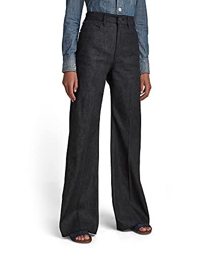 G-STAR RAW Womens Deck Ultra High Waist Wide Leg Jeans, Pitch Black C668-A810, 24W / 30L