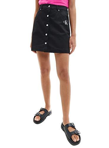 Calvin Klein Jeans Cotton Twill Mini Skirt Falda, CK Negro, M para Mujer