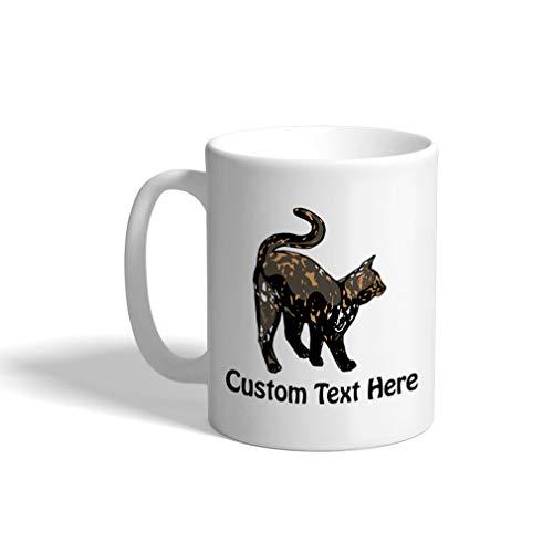 Custom Funny Coffee Mug Coffee Cup Tortoiseshell Cat B White Ceramic Tea Cup 11 OZ Personalized Text Here