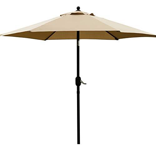 Sunnyglade 7.5' Patio Umbrella Outdoor Table Market Umbrella with Push Button Tilt/Crank, 6 Ribs (Tan)
