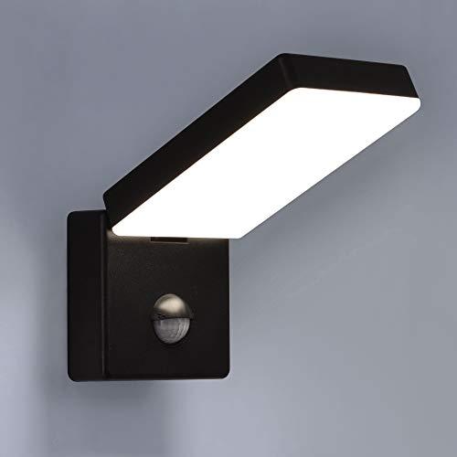 LED Aussenleuchten Bewegungsmelder schwenkbar Wand-leuchte Wandlampe Flurleuchte Fluter 15W schwarz modern IP54 AGATE-BK