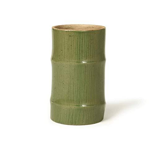 Titular de la pluma Almacenamiento de escritorio Caja de almacenamiento Titular de la pluma, soporte de pluma de bambú de cerámica cian multifuncional, diseño moderno de maquillaje de brochas de maqui