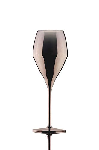 Copas de vino de cristal transparente, copas de champán, copas de cócteles, color oro rosa, 6 unidades