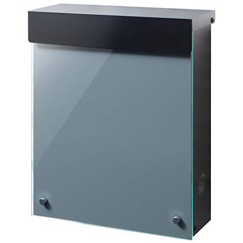 LEON (レオン) MB4902ブラックエディション 郵便ポスト 壁掛けタイプ アクリルガラス製 鍵付き おしゃれ 大型 ポスト 郵便受け (マグネット付き) グレー