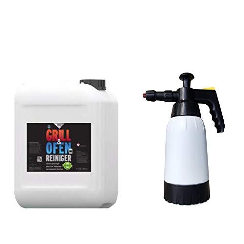 EOSOL Power-Set: EOSOL Grillreiniger - Backofenreiniger (Schaumreiniger), 5 l für Schaumsprühflasche, reinigt selbst stärkste Verschmutzungen + Profi-Schaum-Druckpumpzerstäuber 1.000 ml (leer)