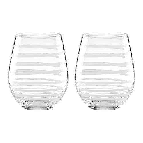 KATE SPADE White Charlotte Street 2Pc Stemless Wine Glass Set, 1.55 LB