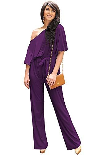 KOH KOH Womens One Shoulder Short Sleeve Sexy Wide Leg Long Pants One Piece Jumpsuit Jumpsuits Pant Suit Suits Romper Rompers Playsuit Playsuits, Purple L 12-14