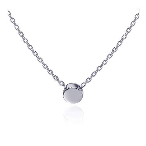 Kreis Punkt Halskette für Damen in 925 Sterling Silber mit Platin überzogen, Silberkette für Frauen Modell Dot, Kette mit Anhänger rund & klein, Kettchen 40+5cm