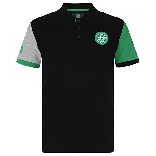 Celtic FC Official Soccer Gift Boys Contrast Sleeve Polo Shirt Black 10-11 Years