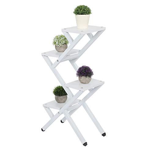 Joycelzen Soporte para plantas de varios niveles, estantes de almacenamiento de macetas de metal de pino macizo para patio, jardín, balcón, sala de estar