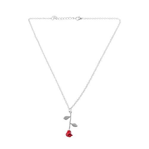 VIccoo Bella y Bestia Dorada Llena 3D Red Rose Colgante Collares para joyería de Las Mujeres - Plata