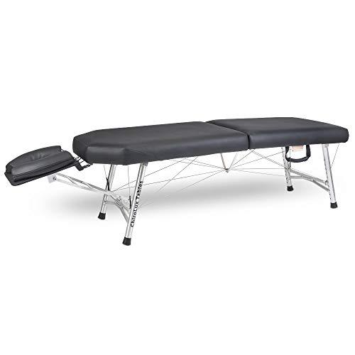 ChiroLux Plus klappbare Leichte (10KG) Chiropraktik Liege und Behandlungsliege inklusive Tragetasche - Mobile Massageliege höhenverstellbare Aluminiumfüße (bis 220kg belastbar)