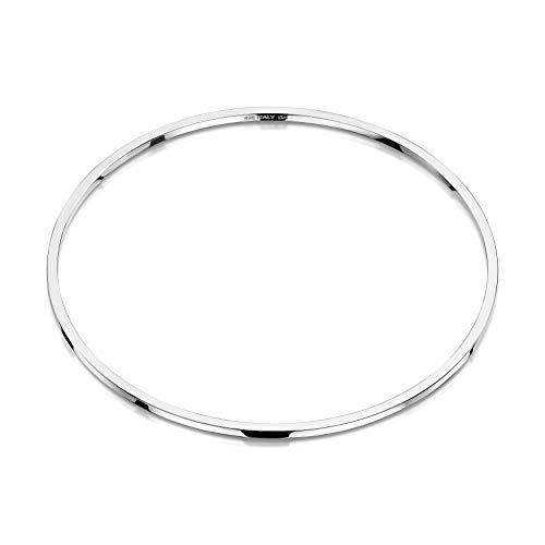 Amberta Pulsera Rigida Redonda en Plata de Ley 925 - Brazalete Esclava Modular Fino para Mujer - Diámetro Interior: 68 mm
