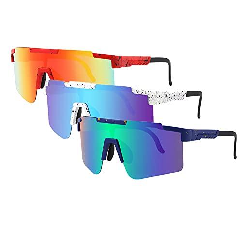 Tmpty Gafas de sol deportivas para hombre, 3 unidades, polarizadas, 100% UV, béisbol, pesca, esquí, correr, golf (color: C2, PC: 3 unidades)
