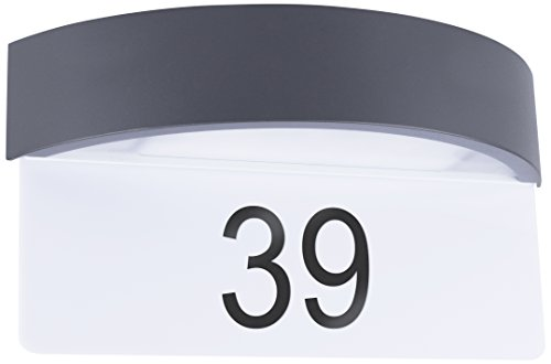 Smartwares 10.045.31 Integrierte LED-Wandleuchte mit Hausnummernschild, Aluminium, Intégré, 7 W, schwarz, 33 x 10 x 18 cm