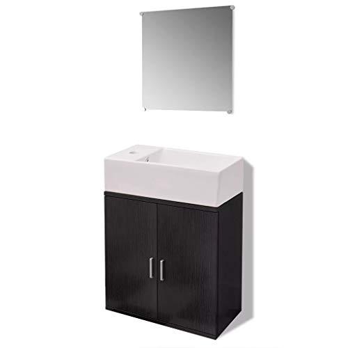 Ausla - Set di mobili da bagno con lavabo rettangolare in ceramica, mobile a doppia porta da parete e specchio incluso, colore: nero