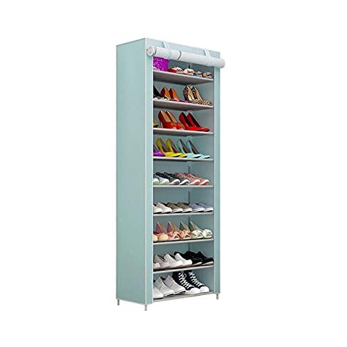 Organizador de almacenamiento de zapatero Gran estante de zapatos de 10 estantes con tapa de tela no tejida para almacenamiento de zapatos, gabinete de zapatos ideal para sala de estar de pasillo. Zap