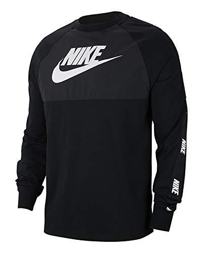 Nike Herren M NSW CE TOP LS HYBRID Long Sleeved T-Shirt, Black/Black/Black/(White), M