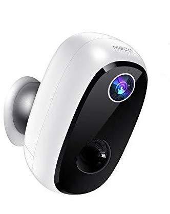 Überwachungskamera Akku, MECO ELEVERDE Outdoor WLAN Kamera 1080P Baby Monitor mit PIR-Bewegungserkennung, 2Wege-Audio, Nachtsicht, integrierter SD-Steckplatz, IP65 wasserdichte für Innen&Aussen