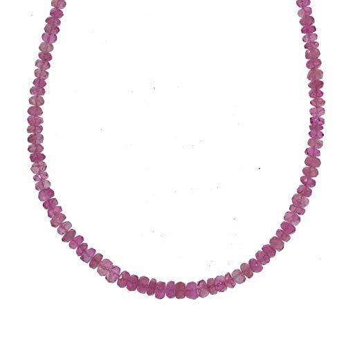 Chili Jewels - Cadena con botones facetados, turmalina (rojo), 02-04 mm/45 cm