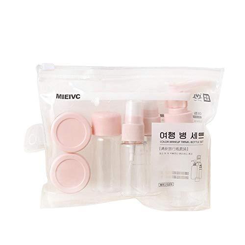 R-Cors 7pcs Flacon de Voyage Silicone Vide Portable, sans BPA, Approuvé par la FDA, Bouteille de Voyage, Articles de Toilette de Voyage, pour Le shampooing, Douche, Lotion (Rose)