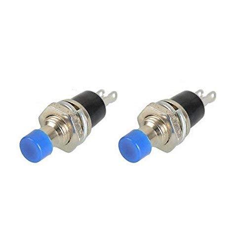 ZTSHBK 10PCS PBS-110 Interruptor de botón de Encendido/Apagado Azul sin Bloqueo Presione el Interruptor de reinicio